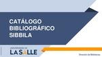 Guía Catálogo Bibliográfico SIBBILA