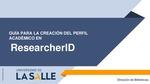 Guía para crear Perfil Researcher ID
